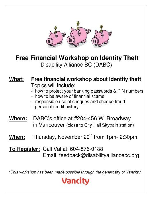 Financial Workshop on Identity Theft- Nov. 20, 2014