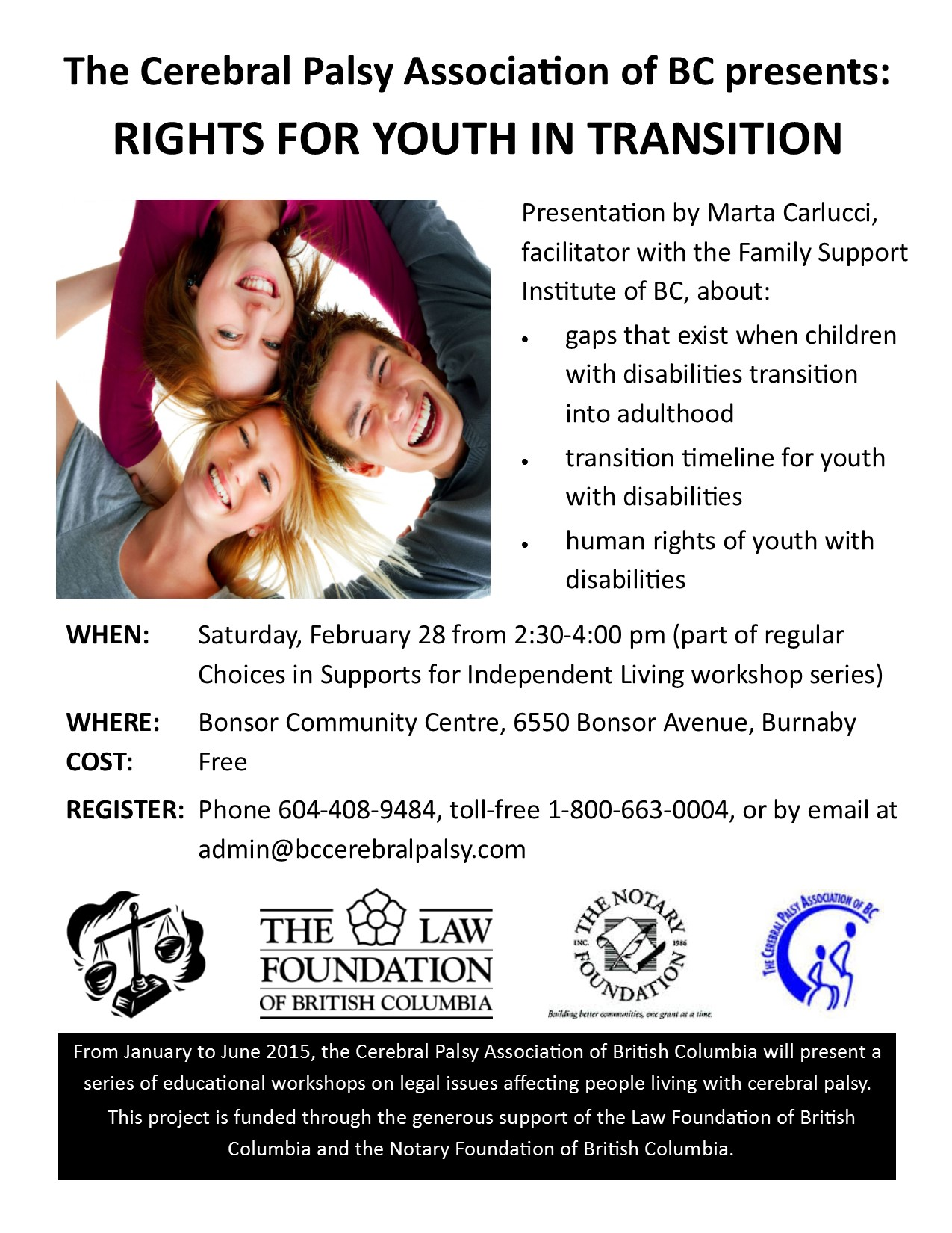 legal workshops flyer - youth supports