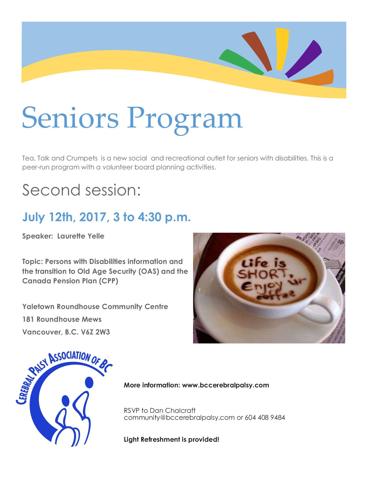Seniors Program flyer July 12th, 2017