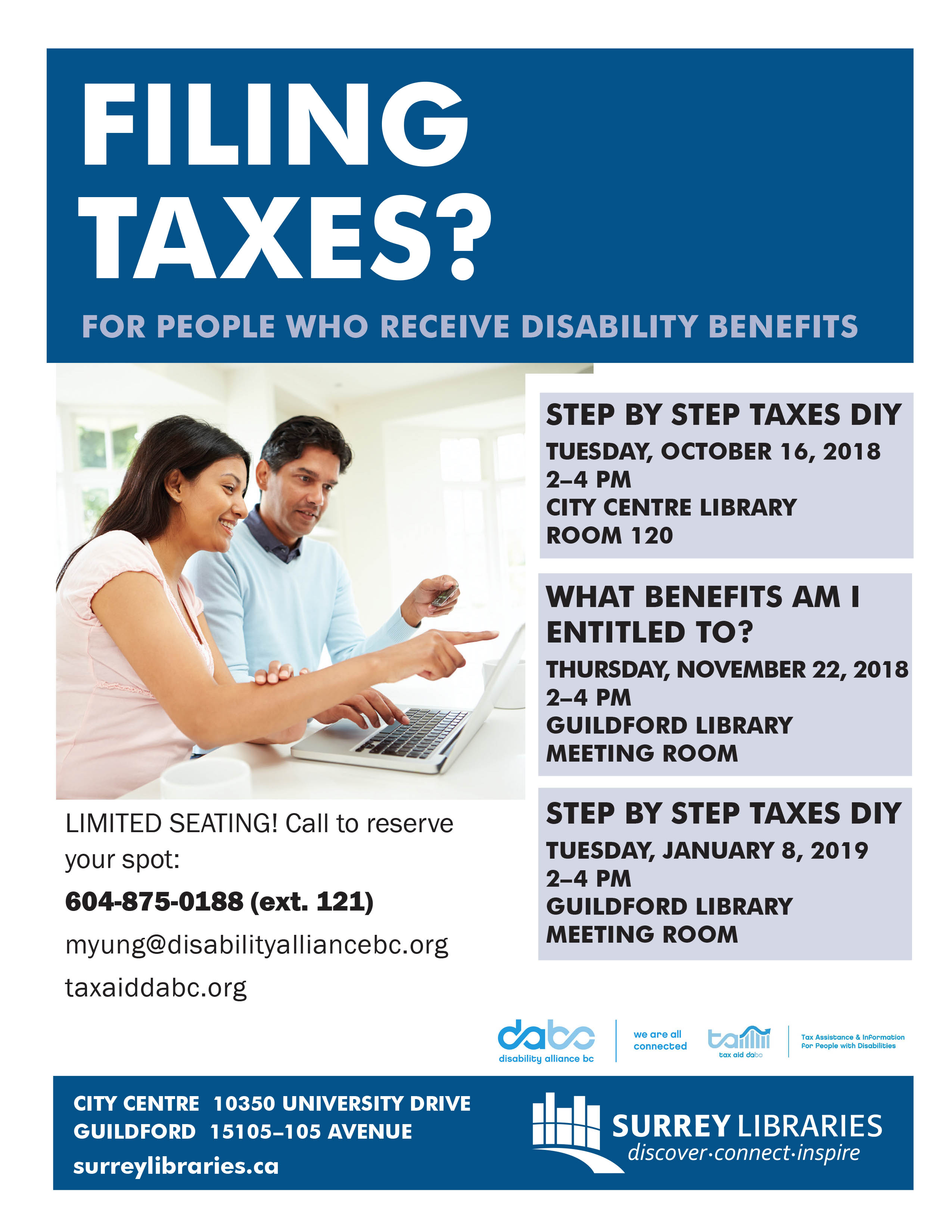 Filing Taxes poster from Surrey Libraries 2018 2019