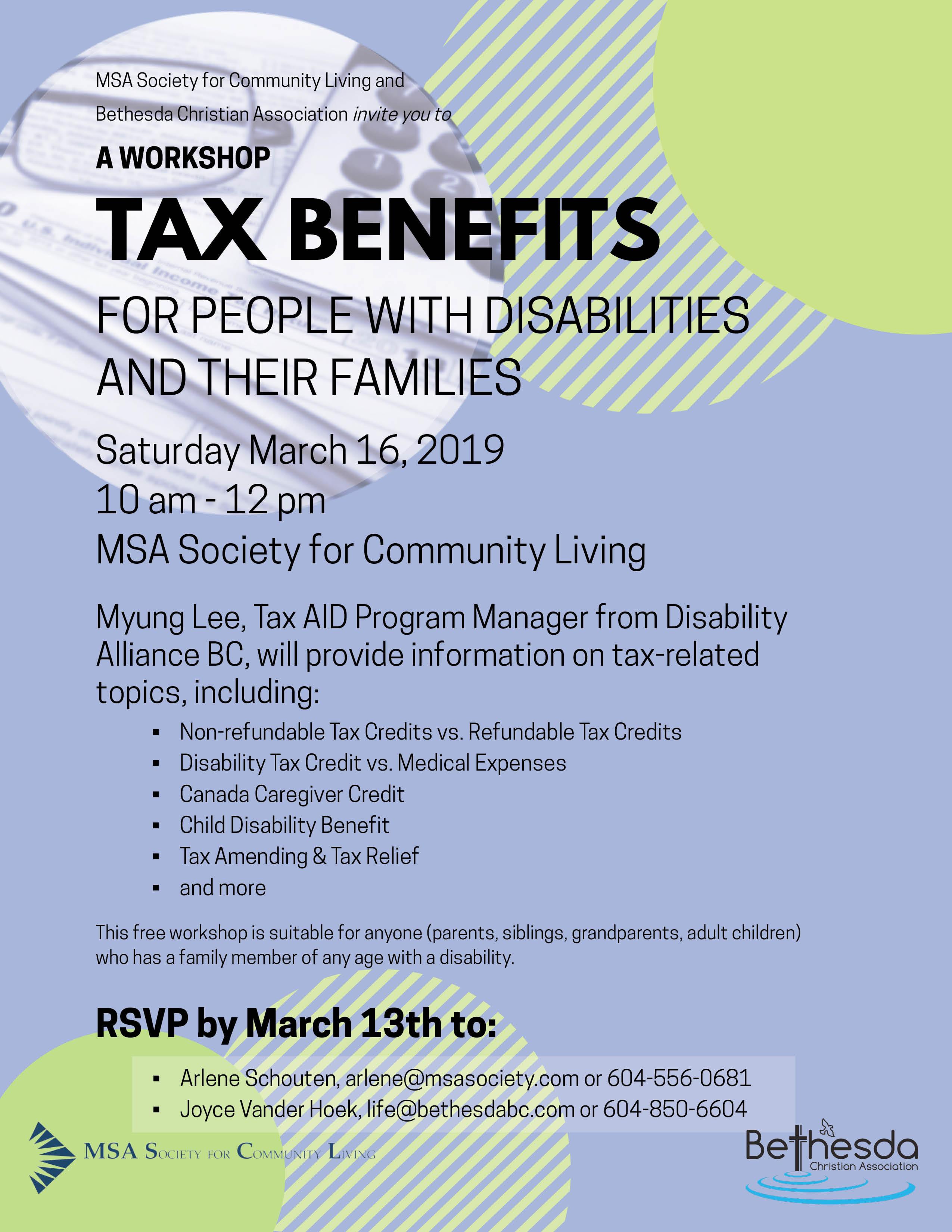 Mar 16 tax benefit workshop poster 8.5x11