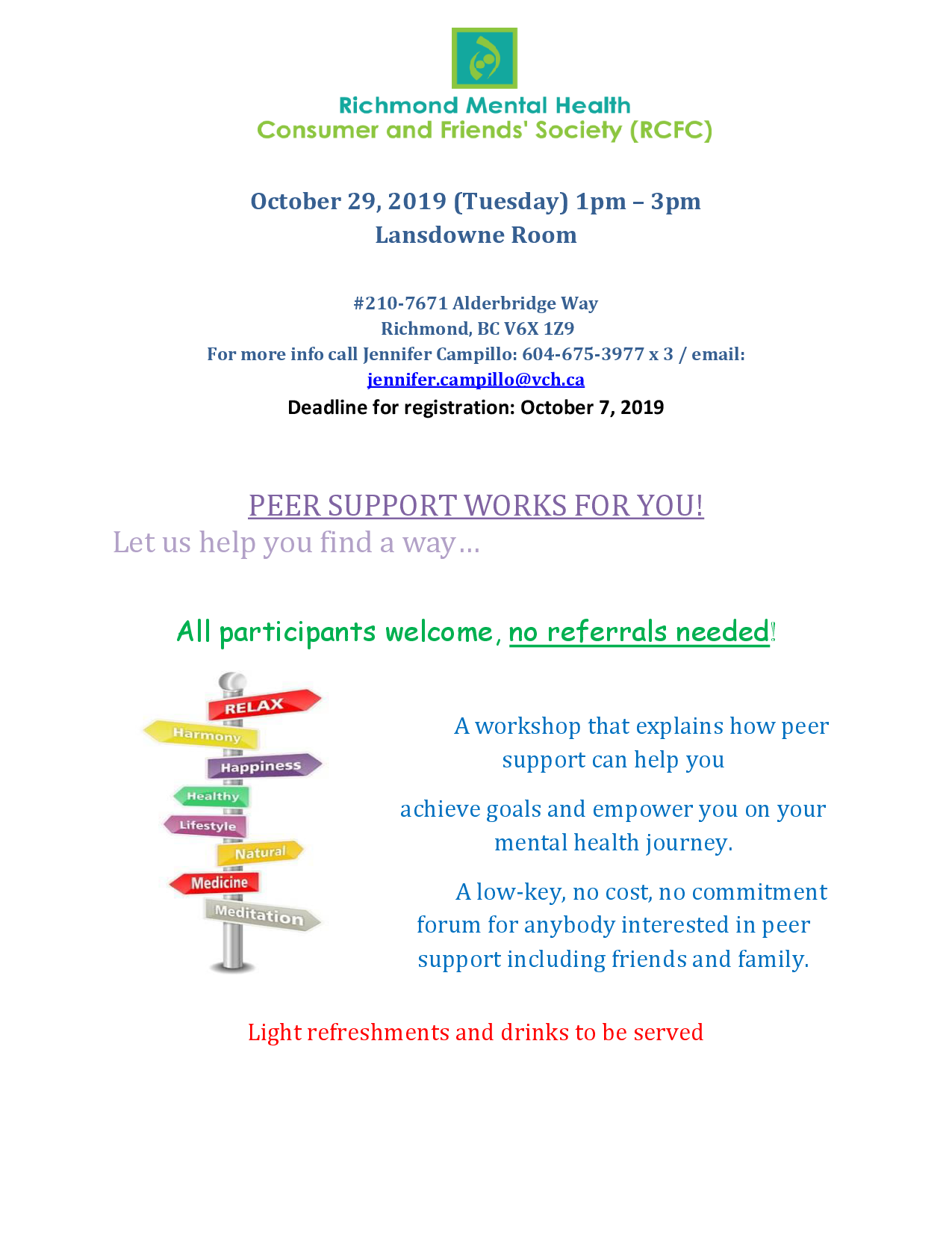 Peer Support Workshop poster