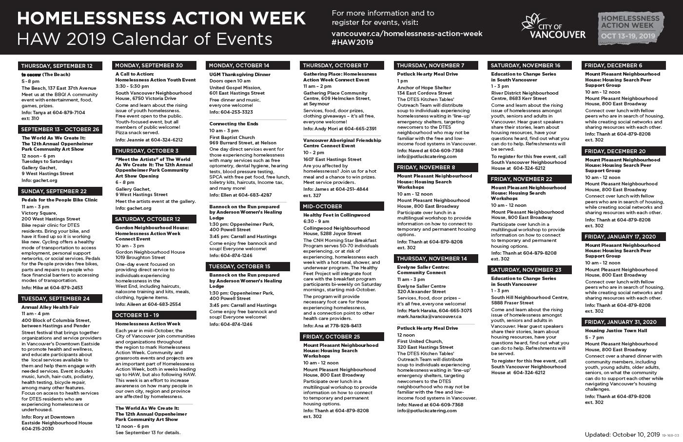 Homelessness Action Week calendar