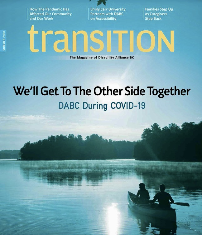 [Image description: Transition magazine cover. Two people paddling a canoe across a lake, trees in the background]