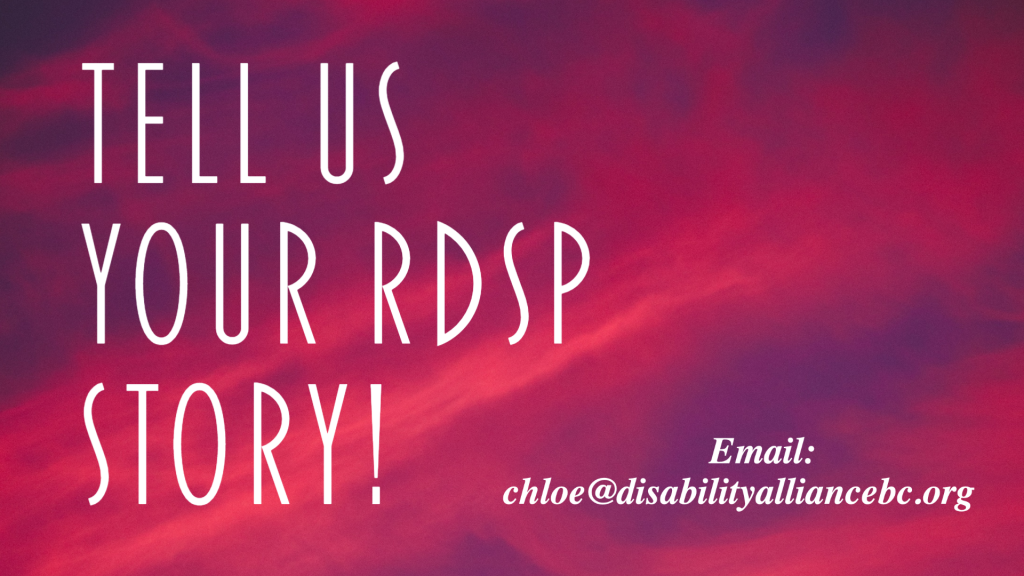 "Pink/purple banner that reads ""Tell Us Your RDSP story!"""