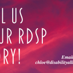 """Pink/purple banner that reads """"Tell Us Your RDSP story!"""""""
