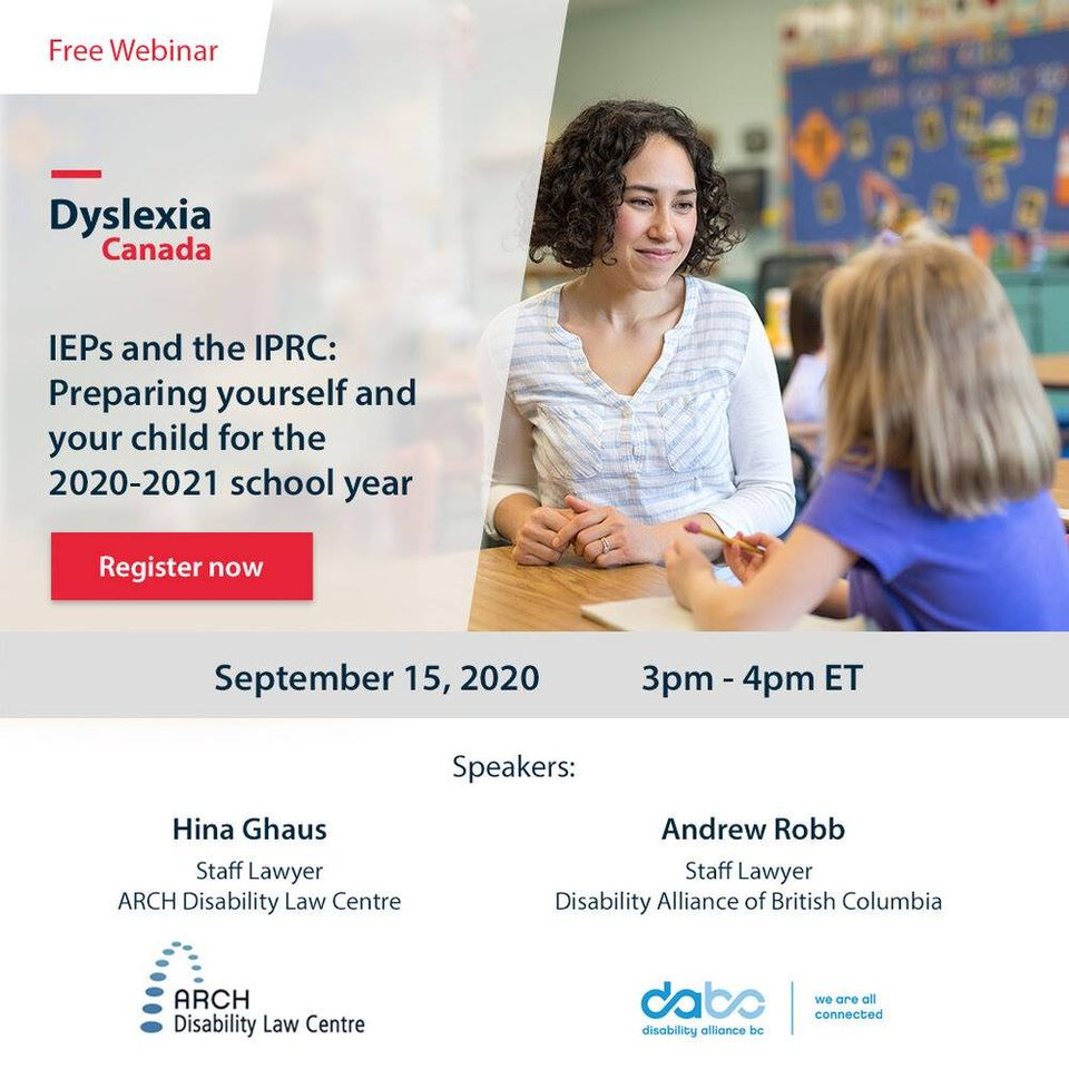[Image description: Young female teacher with curly hair smiles at a young child.  Text reads: IEPs and the IPRC: Preparing yourself and your child for the 2020-2021 school year. Register now. September 15, 2020. 3PM-4PM ET.