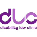 Disability Law Clinic logo, purple letters spelling out the name and acronym.